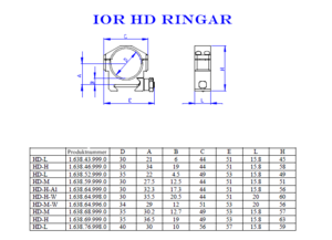 IOR HD-H höga 35mm ringar